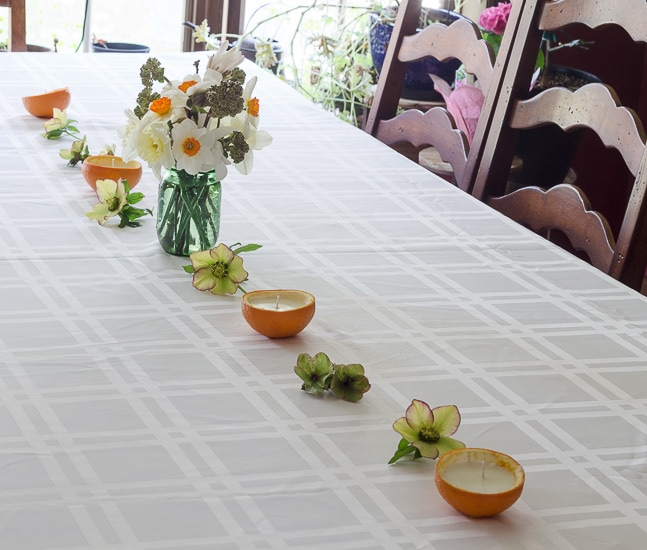 Table Setting ~ Homemade Orange peel Candles DIY ~ gardenmatter.com