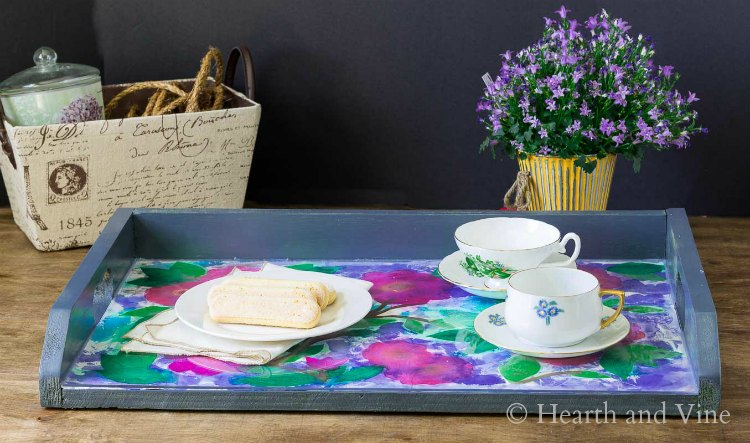 Tissue paper art tray with teacups and cookies