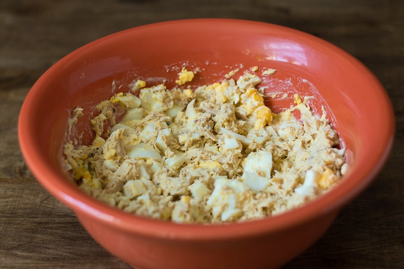 Tuna and egg salad in bowl