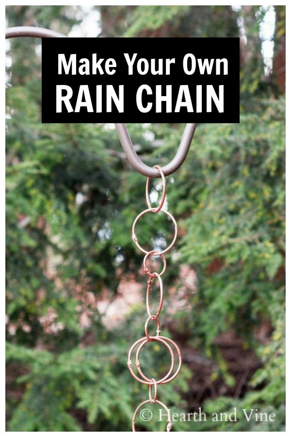 Copper rain chain in different size loops