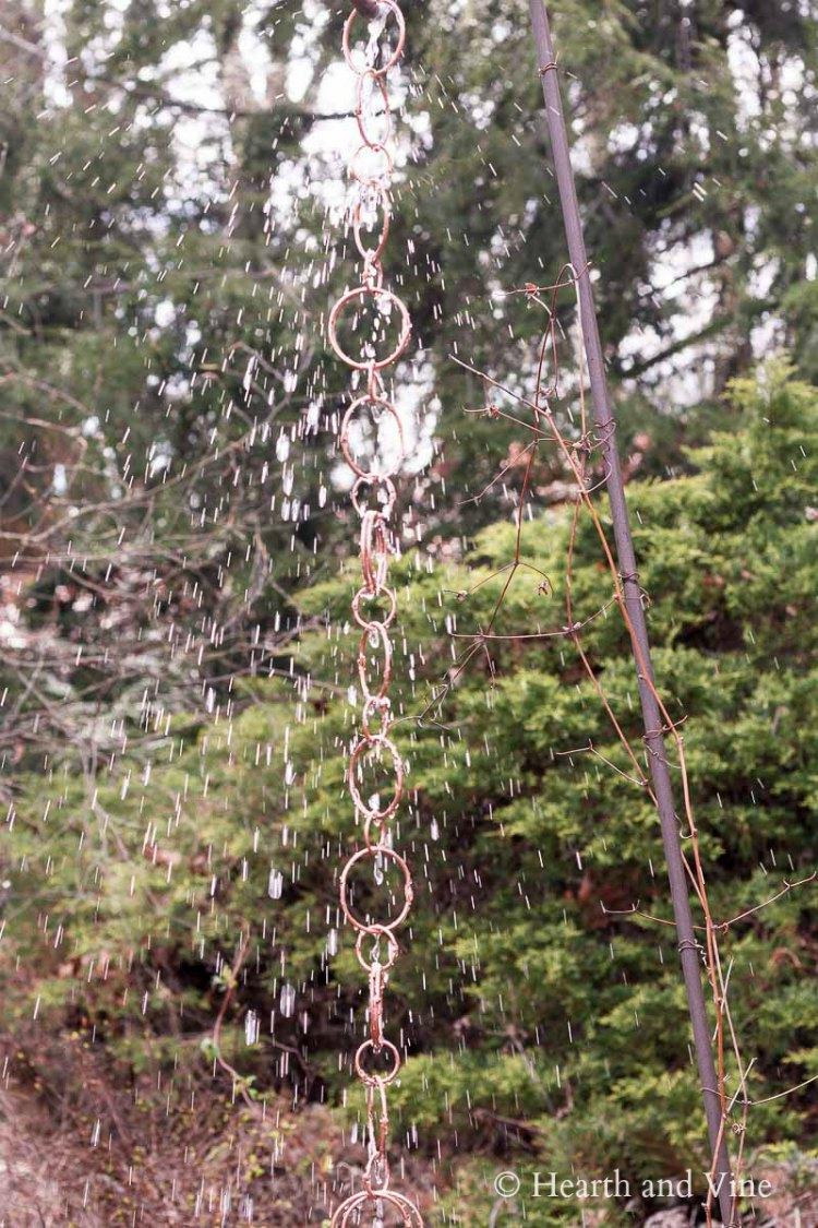Water on rain chain