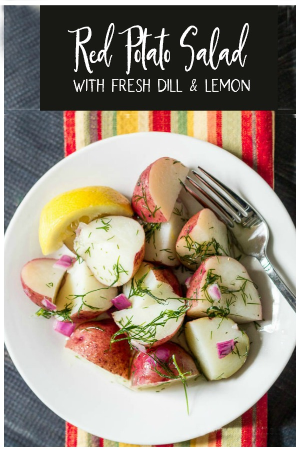 Fresh lemon and dill red potato salad