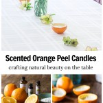 Three images. Top is a table with orange peel candles down the middle with flowers. Second on bottom is empty half orange peels essential oils and wax and third right is a few candles made with orange rinds.
