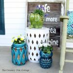 using-lanterns-as-planters-country chic cottage