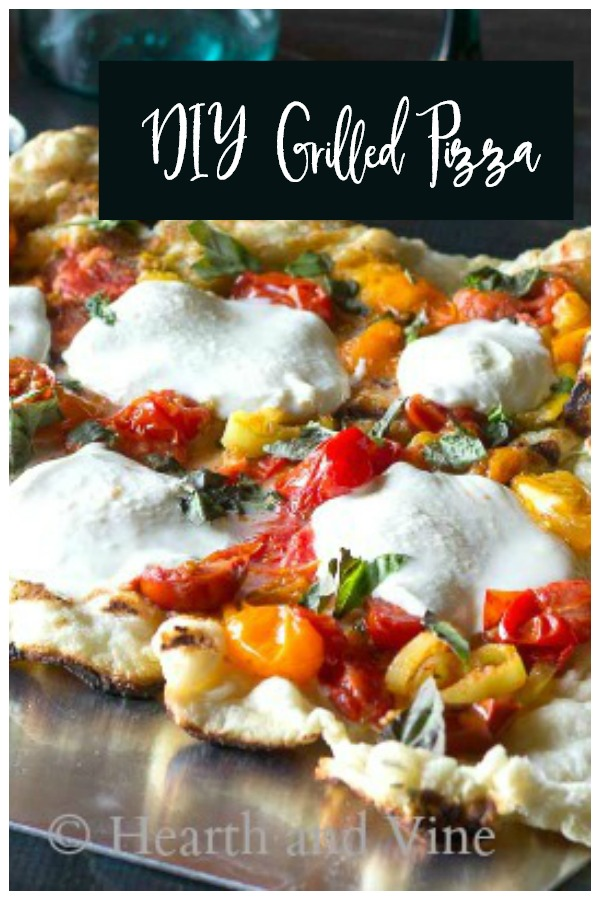 Grilled pizza with fresh mozzarella