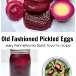 Slice beets and pickled eggs on a plate.