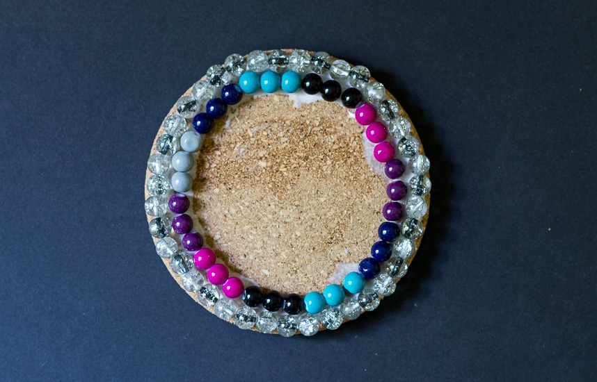 2nd layer of beads ~ Bejeweled Coaster ~ gardenmatter.com
