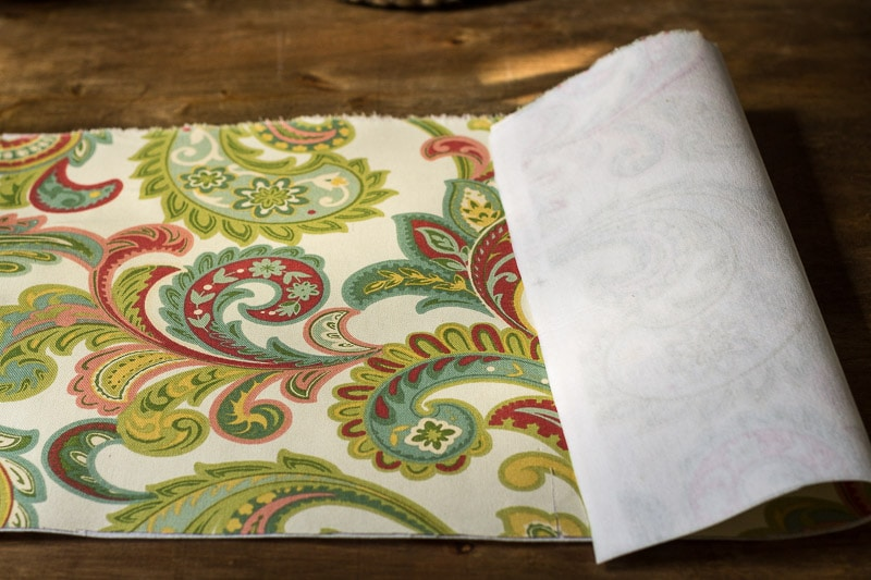 Add interfacing to outside fabric piece.
