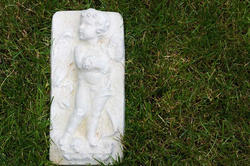 Concrete Cherub Plaque ~ faux lead garden ornament ~ gardenmatter.com