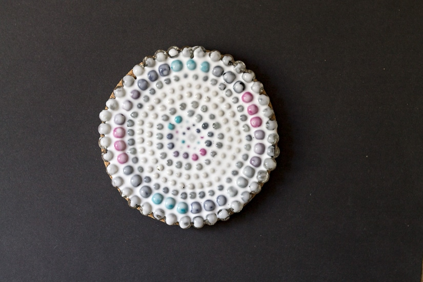 Coaster covered with glue ~ Beaded Coaster ~ gardenmatter.com