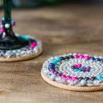Coasters close wine glass ~ Beaded Coaster Challenge ~ gardenmatter.com