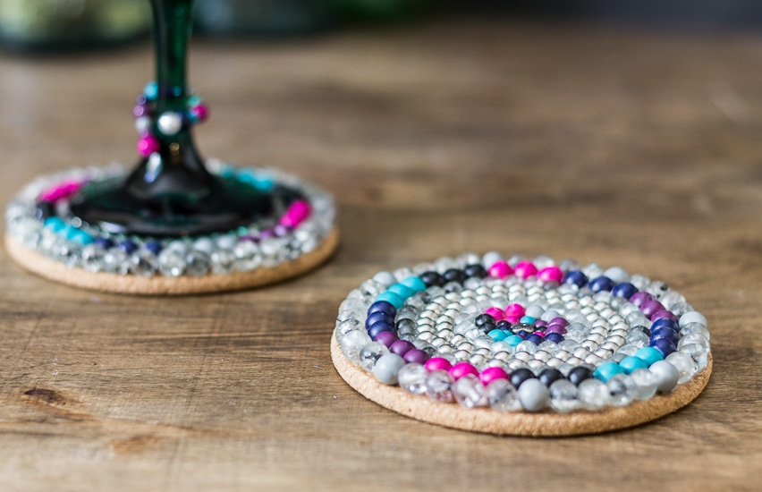 Coasters close wine glass ~ Summer Bead Challenge ~ gardenmatter.com