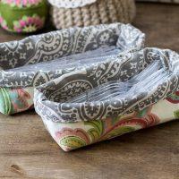 Fabric Utensil bins ~ fabric bin tutorial ~ gardenmatter.com
