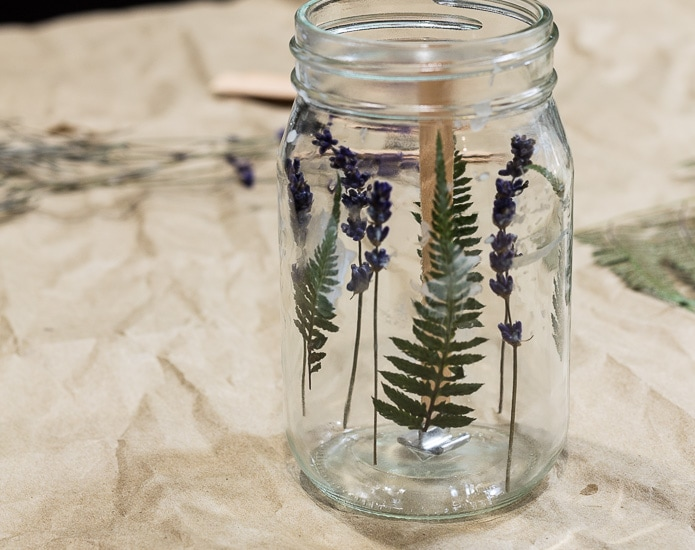 Flowers inside jar ~ Press Flower Mason Jar Candles