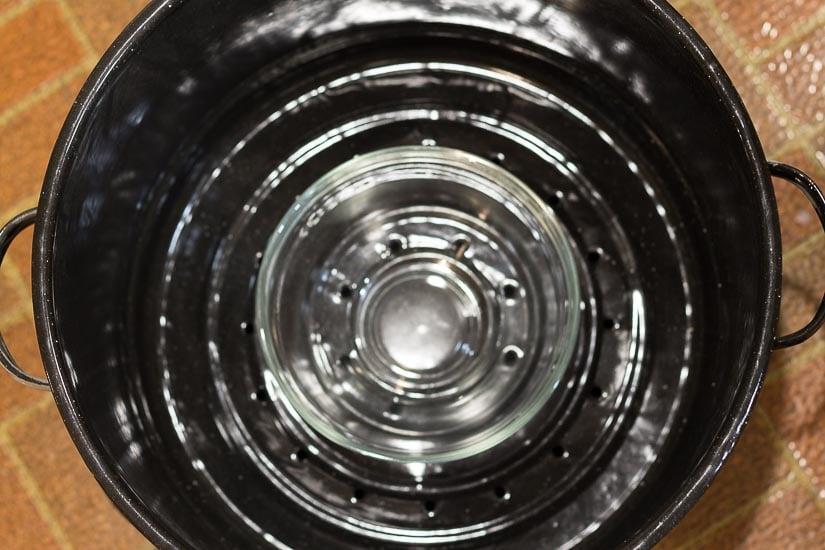 Glass bowl in upper pot ~ How to Make Hydrosols ~ gardenmatter.com