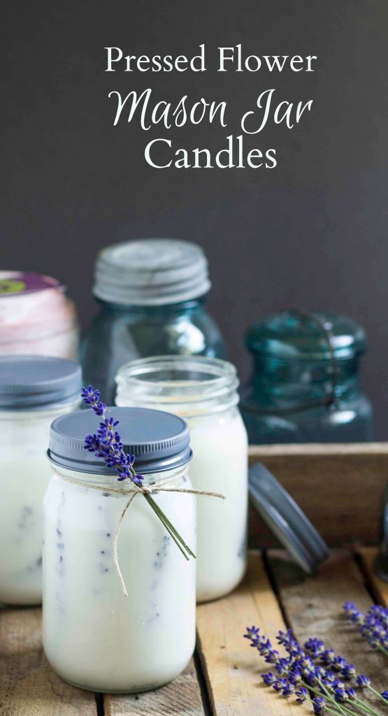 Tutorial on how to make beautiful pressed flower mason jar candles that double as an insect repellent with essential oils of lemon eucalyptus and lavender.