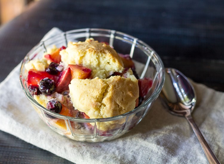 Peach & Blueberry Sugar Cookie Cobbler