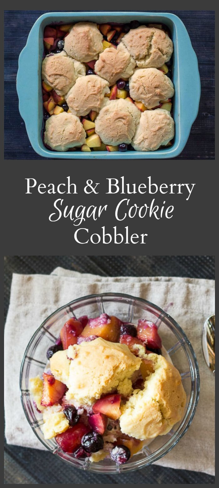 This recipe for peach & blueberry cobbler is made with a sugar cookie topping and is a great way to use fresh from the summer.