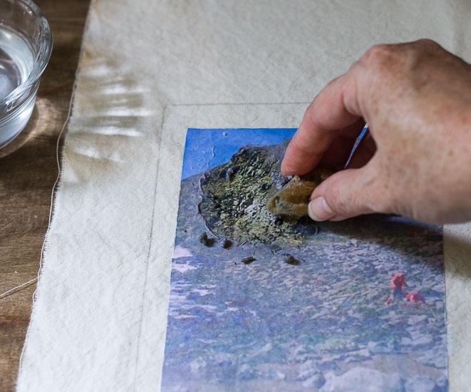 Remove paper with sponge ~  Transfer Fabric Notebook ~ gardenmatter.com