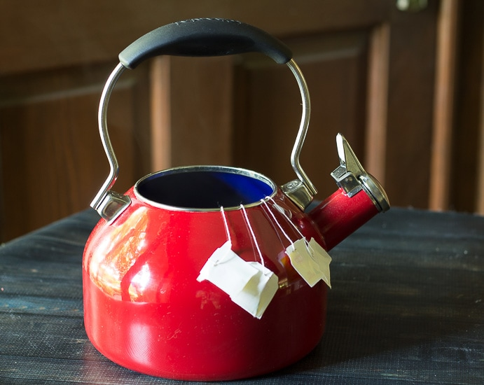 Tea bags in kettle ~ Fruit Tea ~ gardenmatter.com