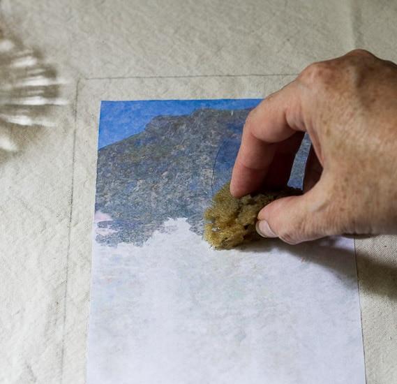 Wet image with sponge ~  Fabric Photo Transfer Notebook ~ gardenmatter.com