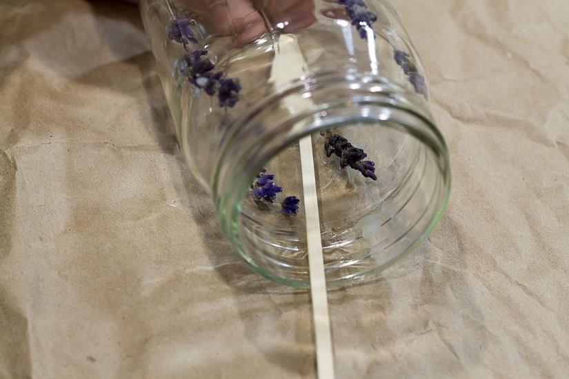 Wooden skewer ~ Press Flower Mason Jar Candles ~ gardenmatter.com