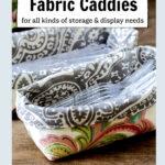 Fabric caddy holding plastic utensils