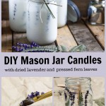 Mason jar lavender candles, paint brush painting wax on lavender and jar with lavender flowers and ferns on sides.