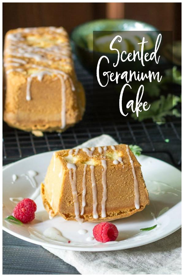 Scented Geranium cakes with lemon glaze