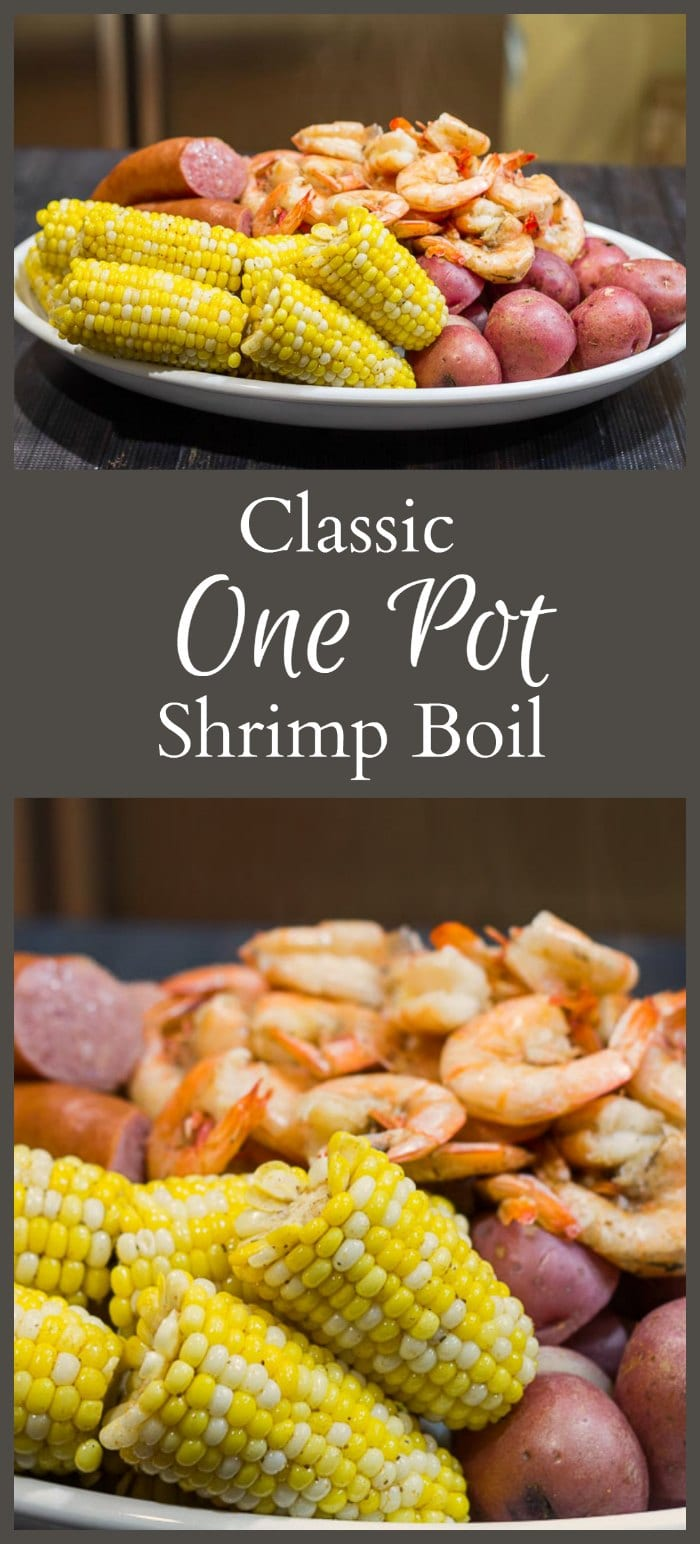 This one pot shrimp boil recipe is easy to make for a crowd. Combined with the flavors of beer and old bay seasoning to create a fun meal any time of year.