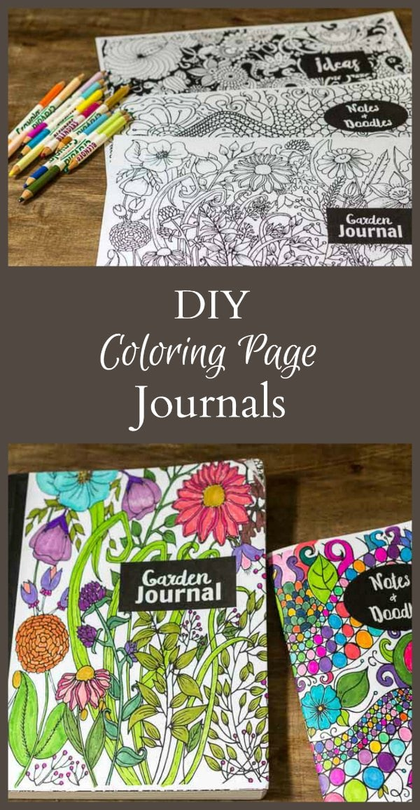 Enjoy making your own coloring page journals with these free downloads. Coloring them in yourself or leave them blank and give as a gift.
