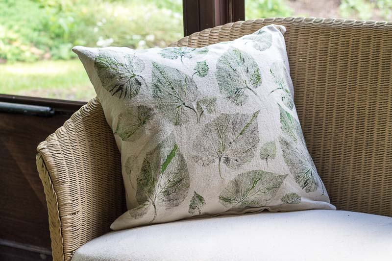 DIY Leaf Print Drop Cloth  Pillow Covers