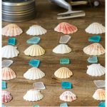 Seashell, seaglass and finish line for a handmade wind chime