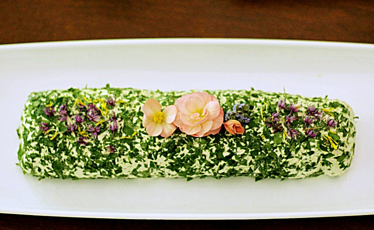 Herb Cheese Spread with Edible Flowers - 10 Dishes to Serve