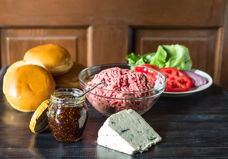 Ingredients - Blue Cheese Burger with Fig Jam