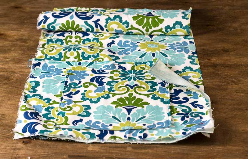 Pockets sewn to main piece - DIY Bed Pocket Caddy