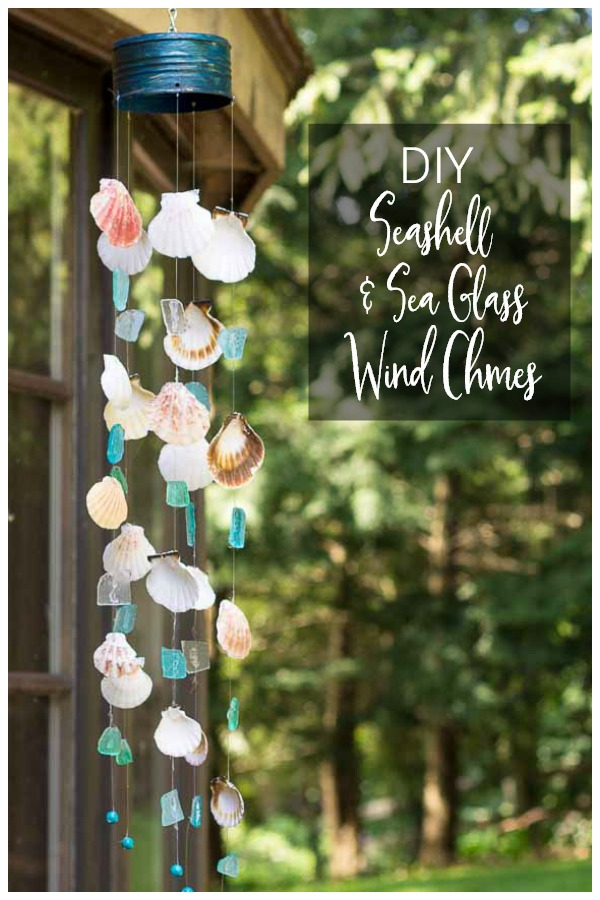 DIY wind chime with seashells and seaglass from vacation hanging on the patio.