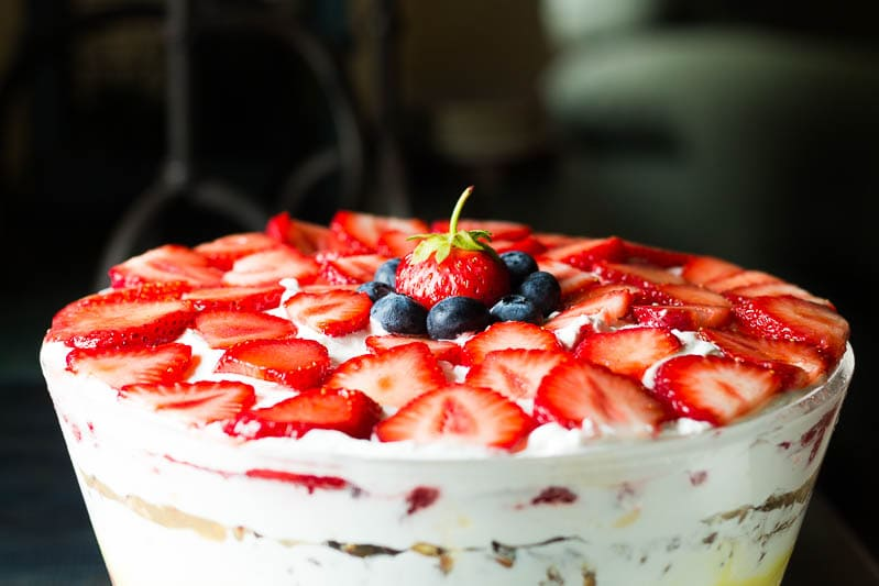 Strawberry-Topped-Trifle-Dish