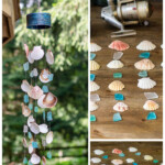 Collage of sea glass and seashell wind chime project.