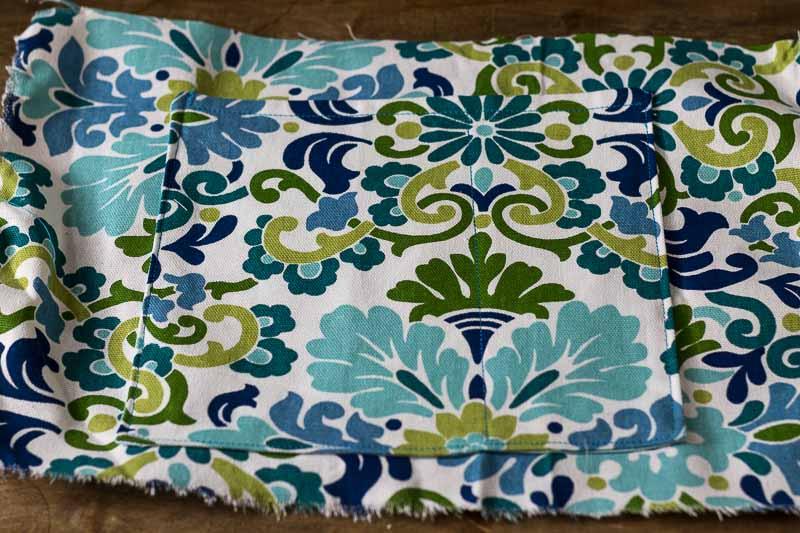 small pocket sewn to large pocket - DIY Bed Pocket Caddy