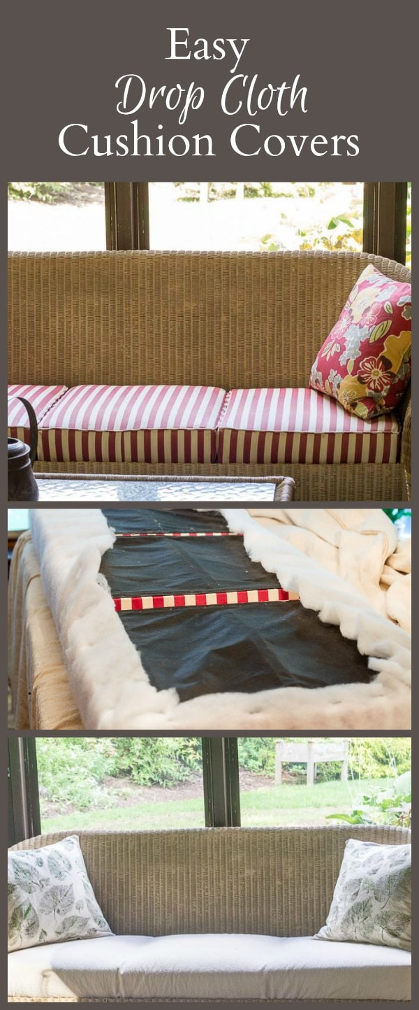 It's pretty easy to make drop cloth cushion covers for your couch or chair. The cost is very affordable and the result is a nice neutral casual feel.