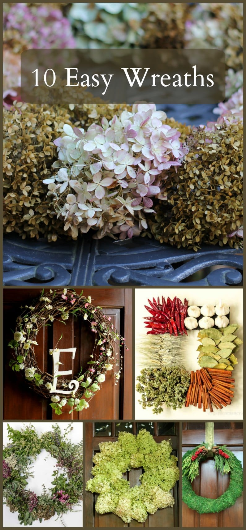 These 10 easy wreaths can be made in one hour. Make one to adorn your front door to great your guests, hang above your mantel, or anywhere in your home.