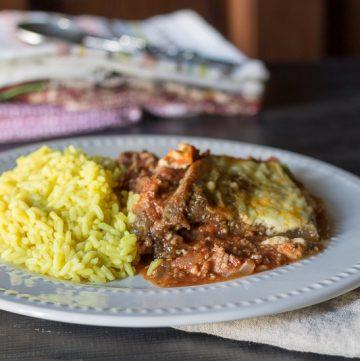 Eggplant Moussaka with Rice