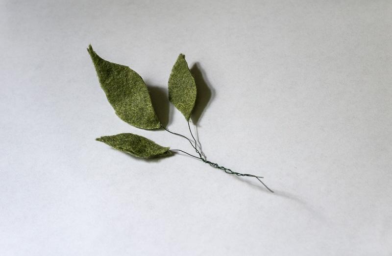 Felt Flower Wreath Tutorial - Felt leaves combined