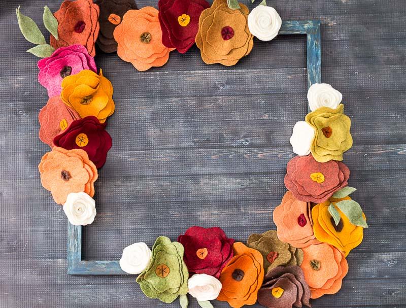 Felt Flower Wreath on table.