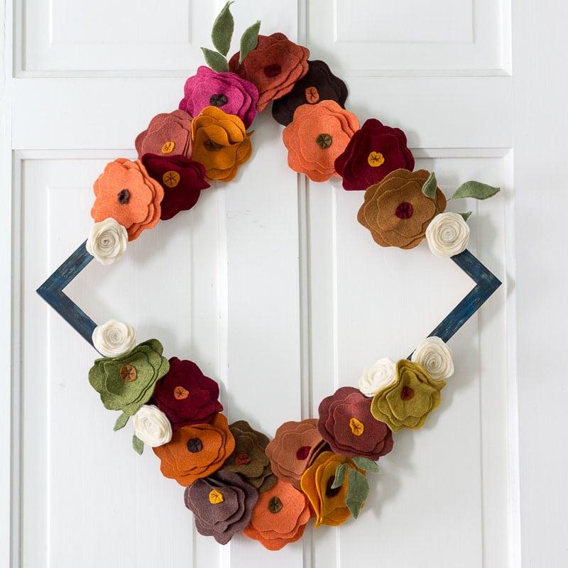 Felt Flower Wreath Tutorial - On white door diamond