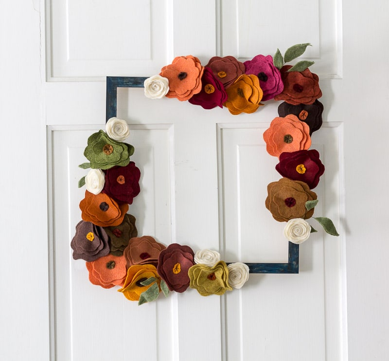 Felt Flower Wreath Tutorial - On white door square