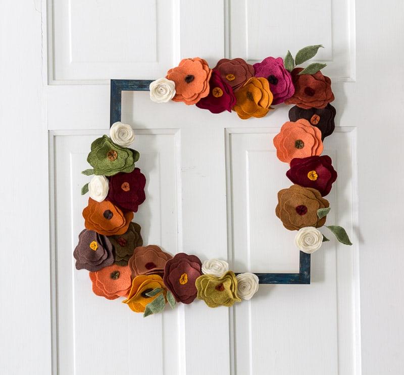 Felt Flower Wreath On white door square