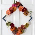 Felt Flower Wreath Tutorial - On white door tall diamond