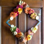 Felt Flower Wreath Tutorial - On wooden door diamond
